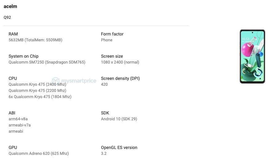 LG Q92 5G Google Play Console
