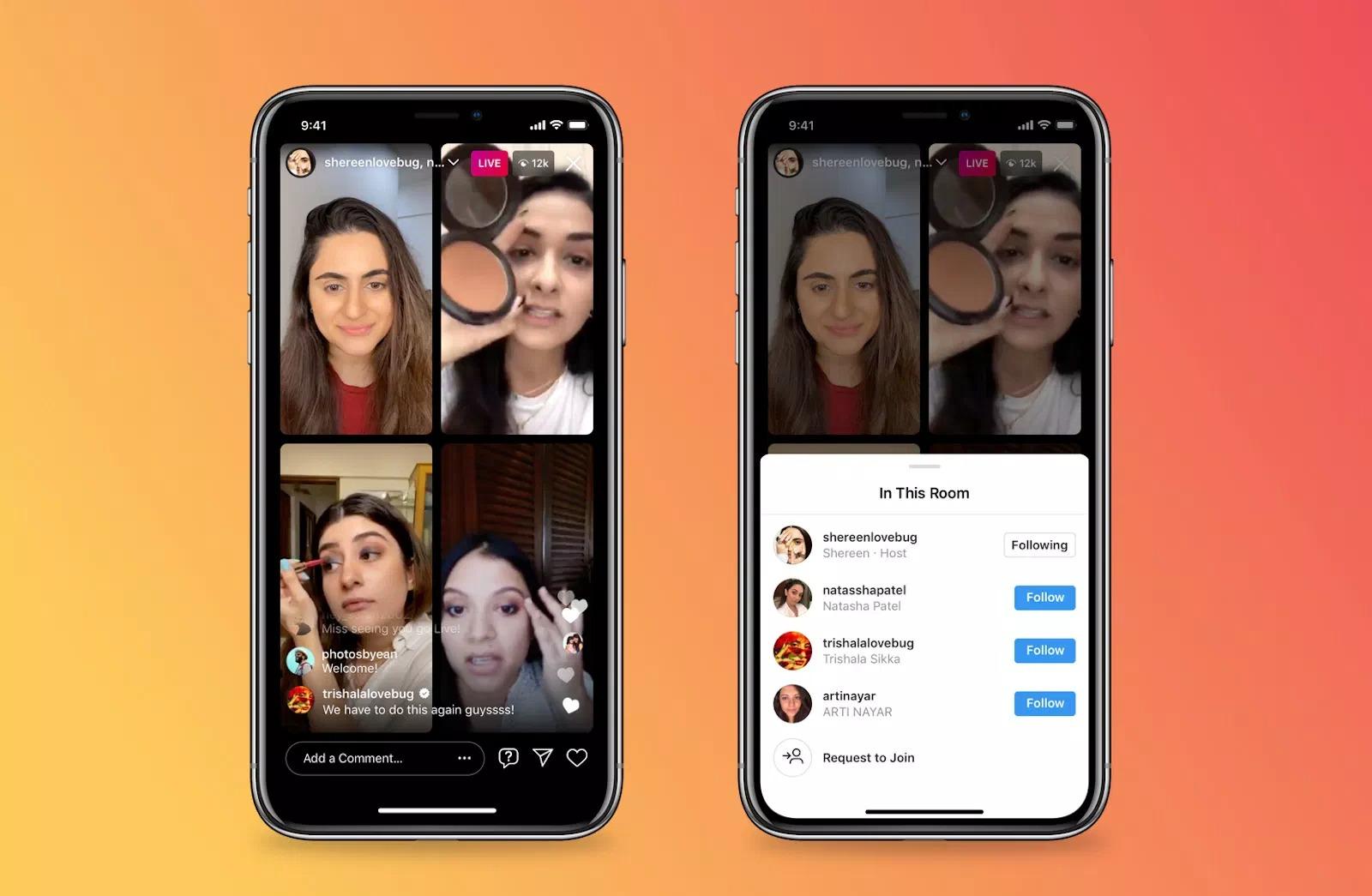 Instagram permite acum live-uri cu până la patru utilizatori simultan